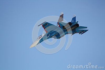 Fighter aircraft SU-27 in flight Editorial Stock Image