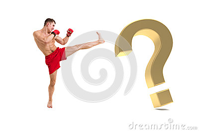 Fighter boxing with gold question mark