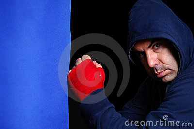 Fighter in concentration moment