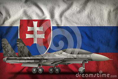 Fighter, interceptor with city camouflage on the Slovakia state flag background. 3d Illustration Stock Photo