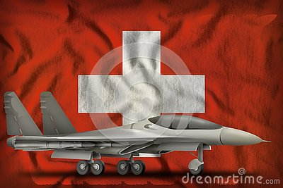 Fighter, interceptor on the Switzerland state flag background. 3d Illustration Stock Photo