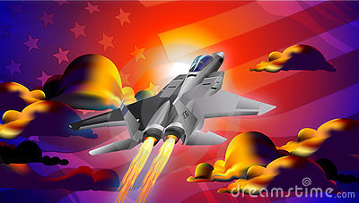 fighter Jet at Sunset Illustration