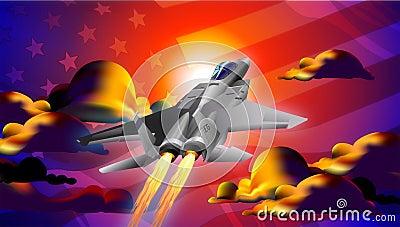 fighter Jet at Sunset Illustration