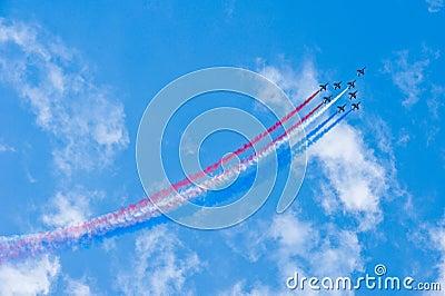 Fighter jets during acrobation