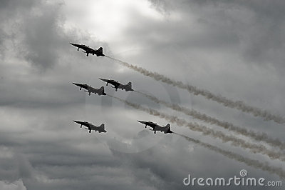 Fighter jets with gear down