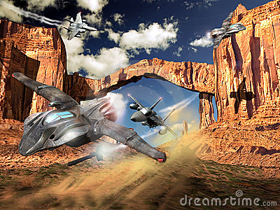 Fighter planes and UFO combat