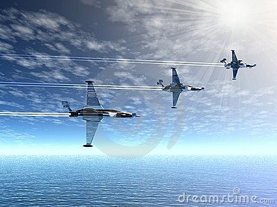 Fighter squadron. War-planes