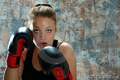 Fighter Woman Wearing Boxing Gloves Royalty Free Stock