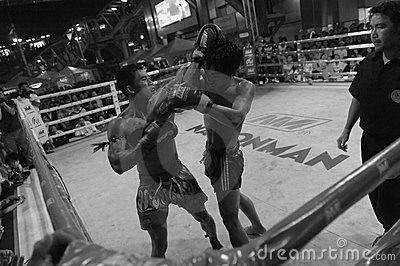 Fighters Compete in a Thai Boxing Match Editorial Photography