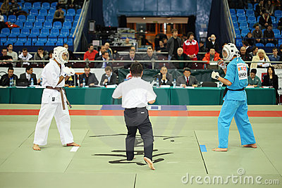Fighters prepare for battle at World Cup 2011 KUDO Editorial Stock Photo