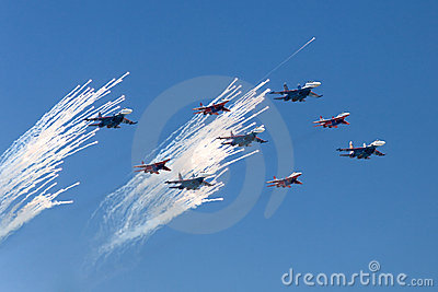 Fighters saluting in the skies Editorial Stock Image