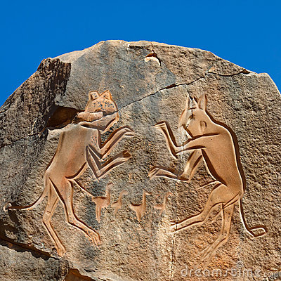The Fighting Cats  Engraving - Wadi Mathendous