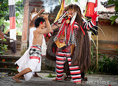 Fighting with evil demon Rangda Bali Indonesia Editorial Photo