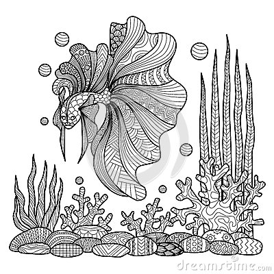 Free Fighting Fish Drawing For Coloring Book. Royalty Free Stock Photography - 59621167