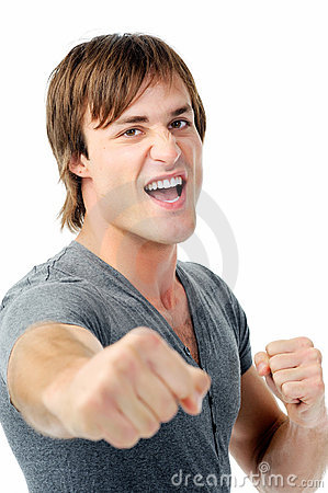 Fighting man with fists