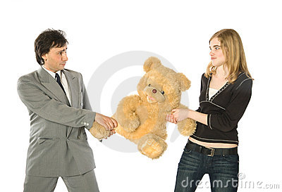 Fighting over a teddy-bear