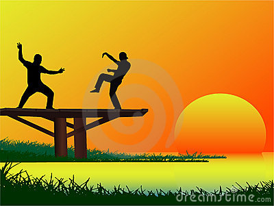 Fighting Session on the bridge
