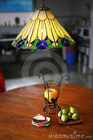 Figs, fruits and designer  lamps