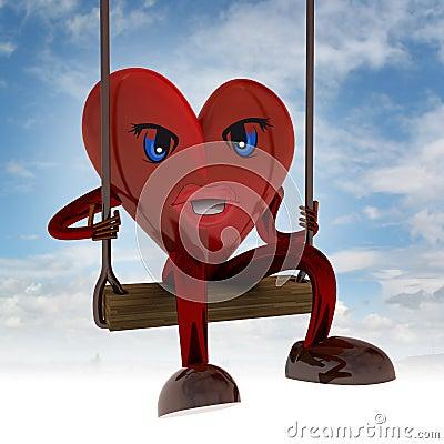 A figura do coração balança no balanço no céu