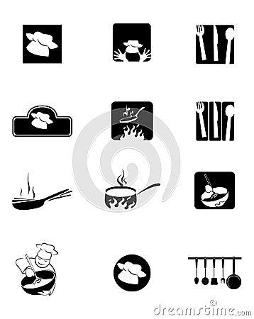 Figuras da cozinha, da cozinha e do cozinheiro chefe
