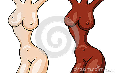 Figuras de dos muchachas hermosas desnudas aisladas en blanco