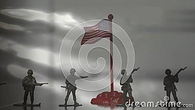 Figuras dos soldados Silhueta de um fundo de Against Us Flag do soldado vídeos de arquivo