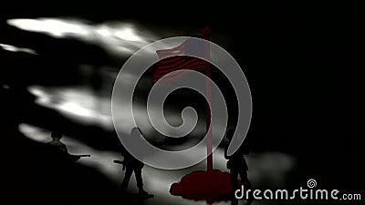 Figuras dos soldados Silhueta de um fundo de Against Us Flag do soldado filme