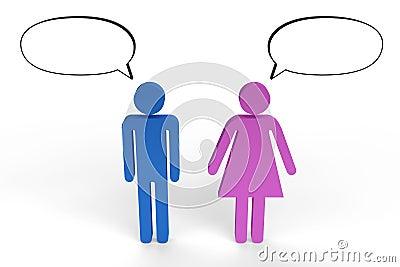 Figuras masculinas y femeninas que tienen una conversación