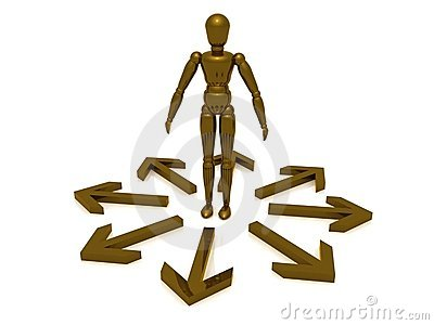 Figure in circle of arrows