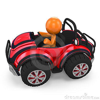 Figure in dune buggy