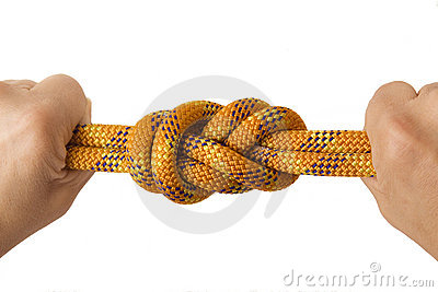 Figure eight knot in double rope with two fists