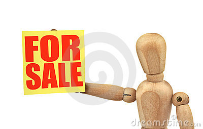 Figure holding a sale announcement