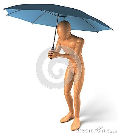 Figure, man under umbrella