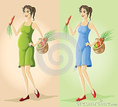 Figure pregnant & slender girl