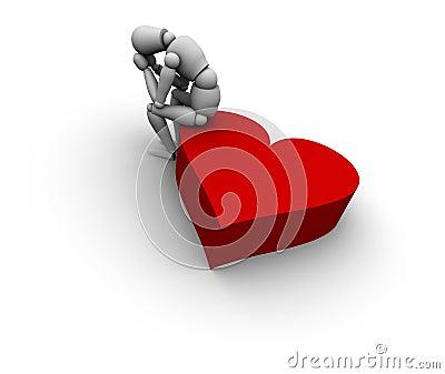 Figure sitting on heart