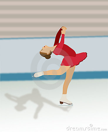Figure Skater in Red Dress