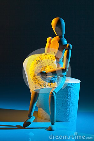 Figure with toilet paper