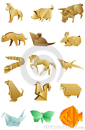 Figures of animals origami set on white background