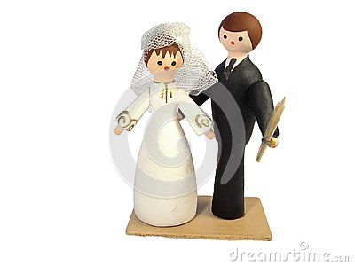 Figures of the bridegroom and the bride
