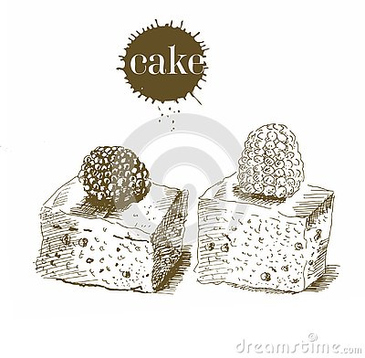 Figurine cake by hand in the old style. Vector black and white vintage illustration. Isolated object on white background. Design f Cartoon Illustration