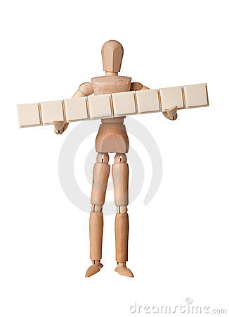 Figurine with eight empty text blocks