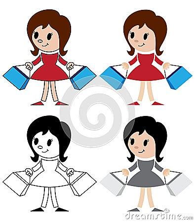 Figurines des femmes avec des paquets