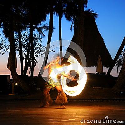 Fiji Fire Dance Editorial Stock Photo