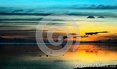 Fiji sunset after storm