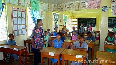 Fijian school class with teacher Editorial Stock Image