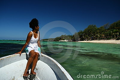 Fijian in Tropical Paradise Editorial Photography