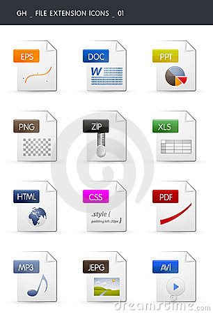 Free File Extension Icons _01 Royalty Free Stock Photography - 16408607