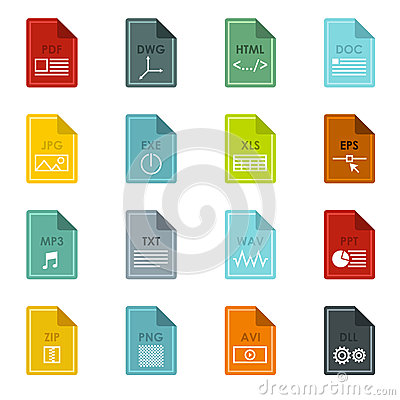 Free File Format Icons Set, Flat Style Stock Photos - 78280893