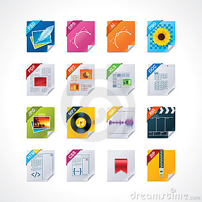 Free File Labels Icon Set Royalty Free Stock Image - 21707936