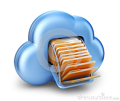 File storage in cloud. 3D computer icon isolated